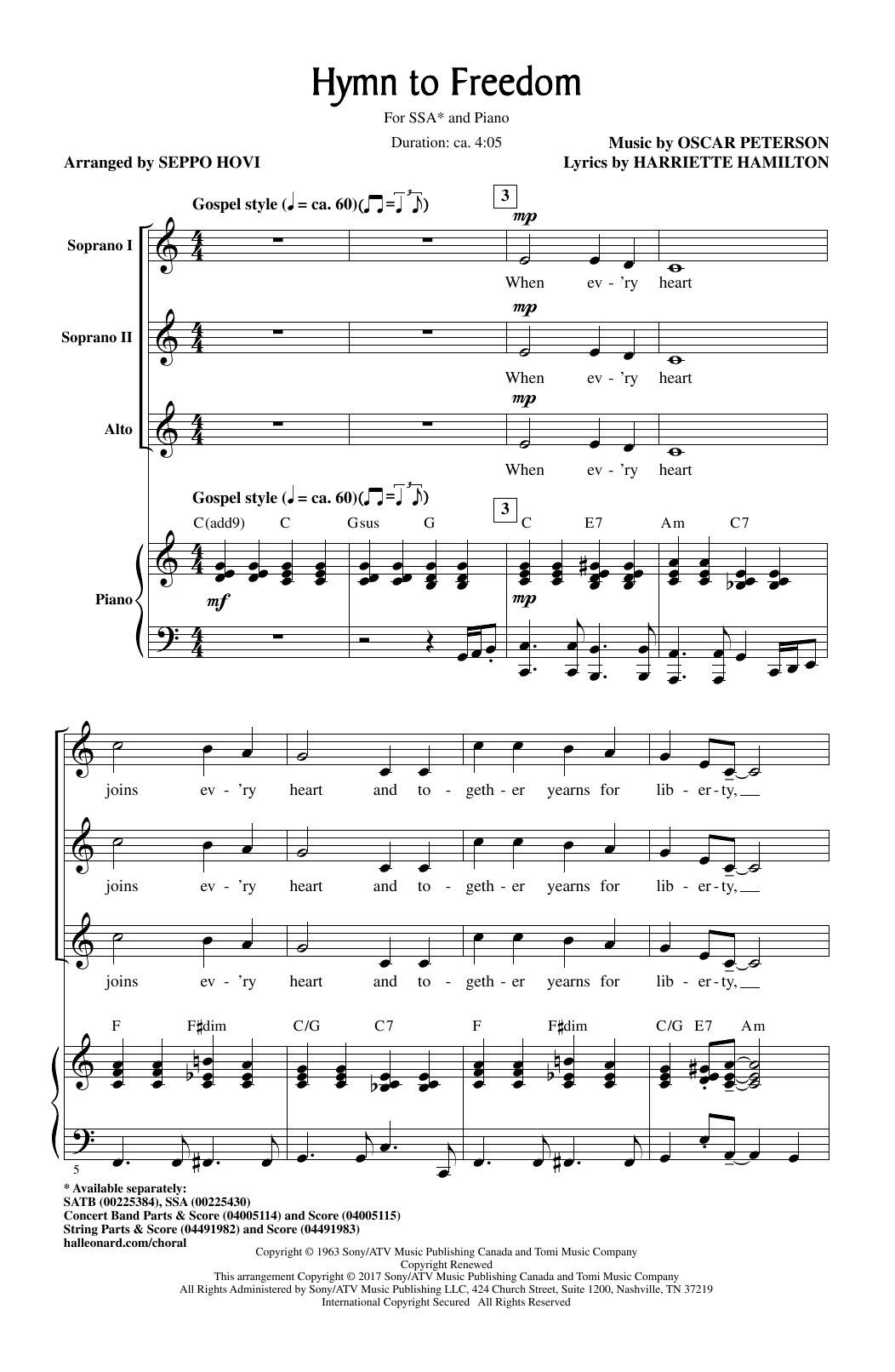 Oscar Peterson Hymn To Freedom (arr. Seppo Hovi) sheet music notes and chords. Download Printable PDF.