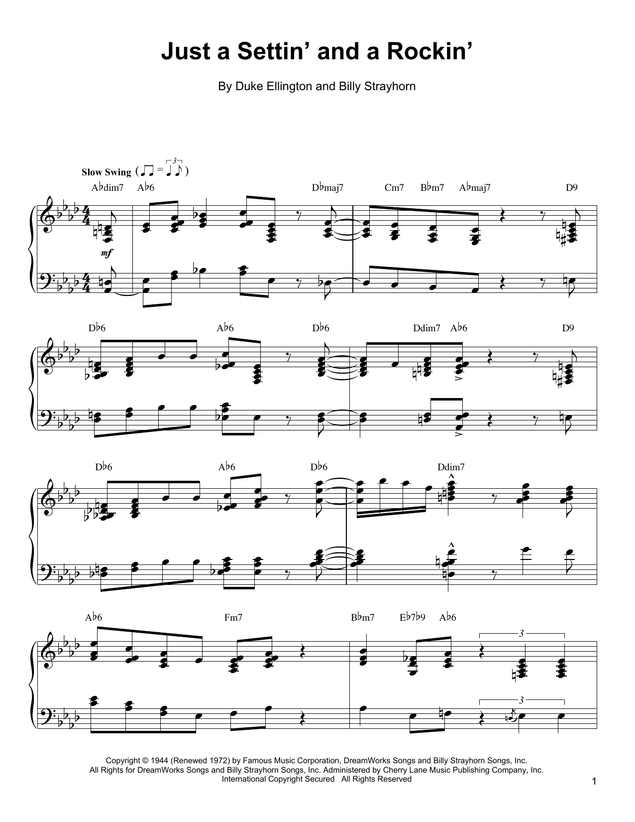 Oscar Peterson Just A Settin' And A Rockin' sheet music notes and chords. Download Printable PDF.