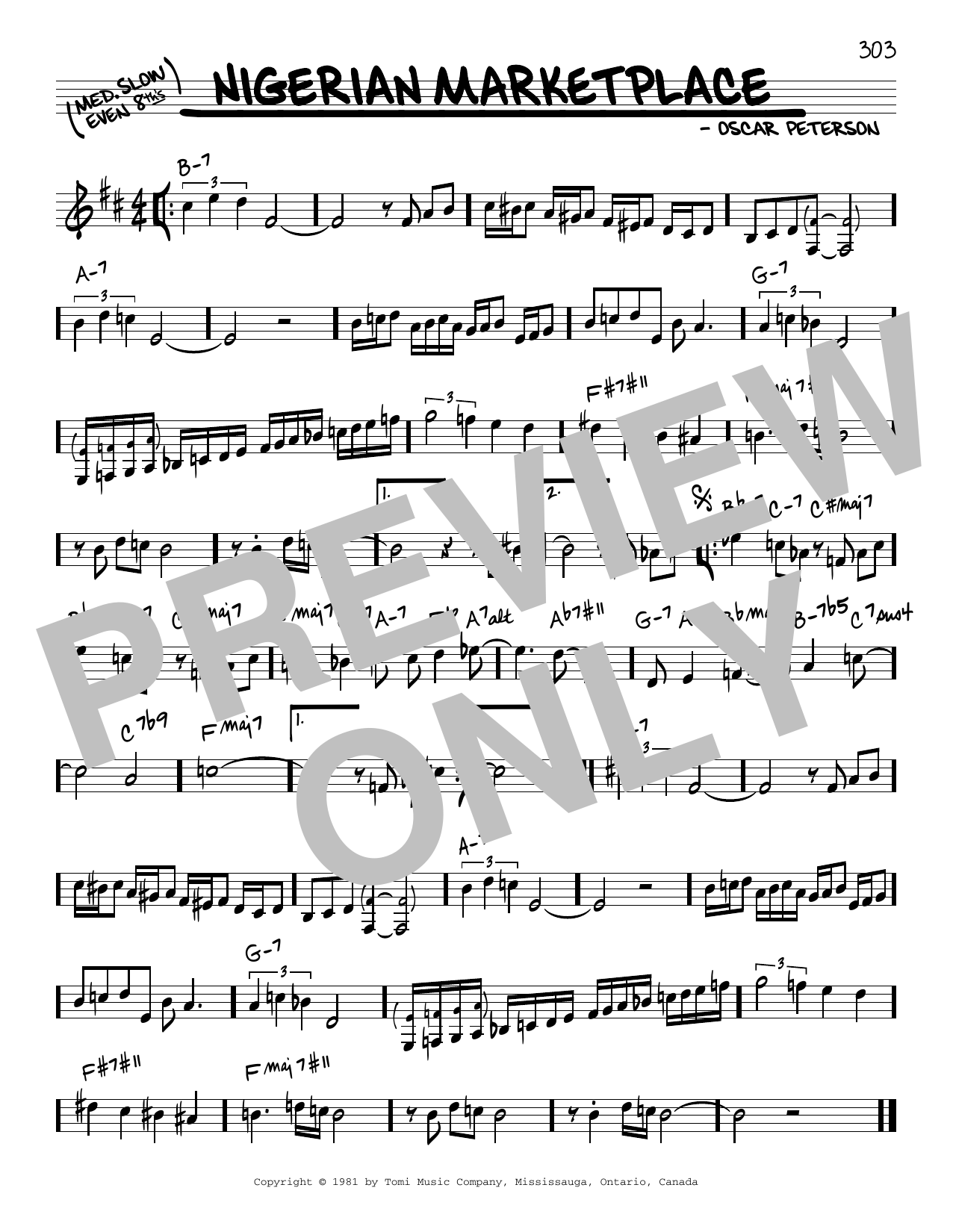 Oscar Peterson Nigerian Marketplace sheet music notes and chords. Download Printable PDF.