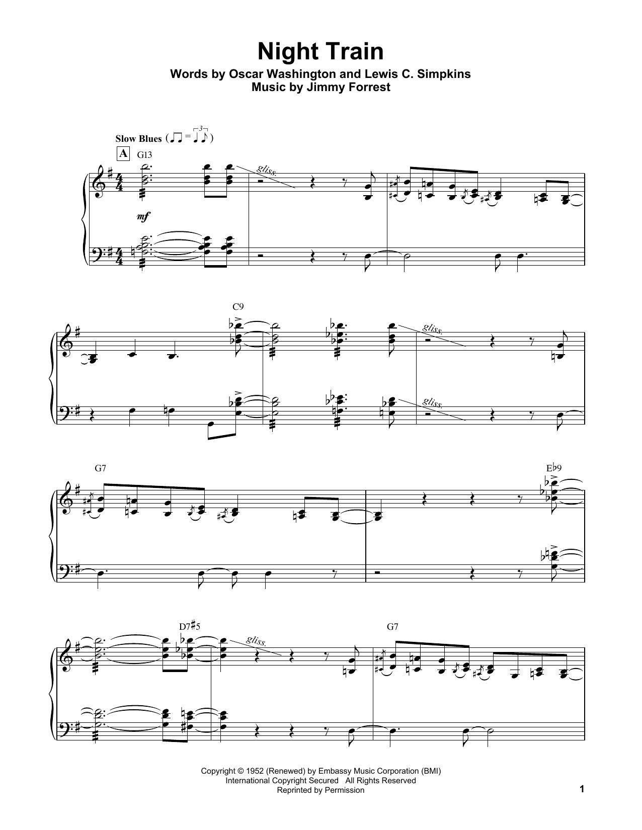 Oscar Peterson 'Night Train' Sheet Music Notes, Chords | Download Printable  Piano Transcription - SKU: 199021