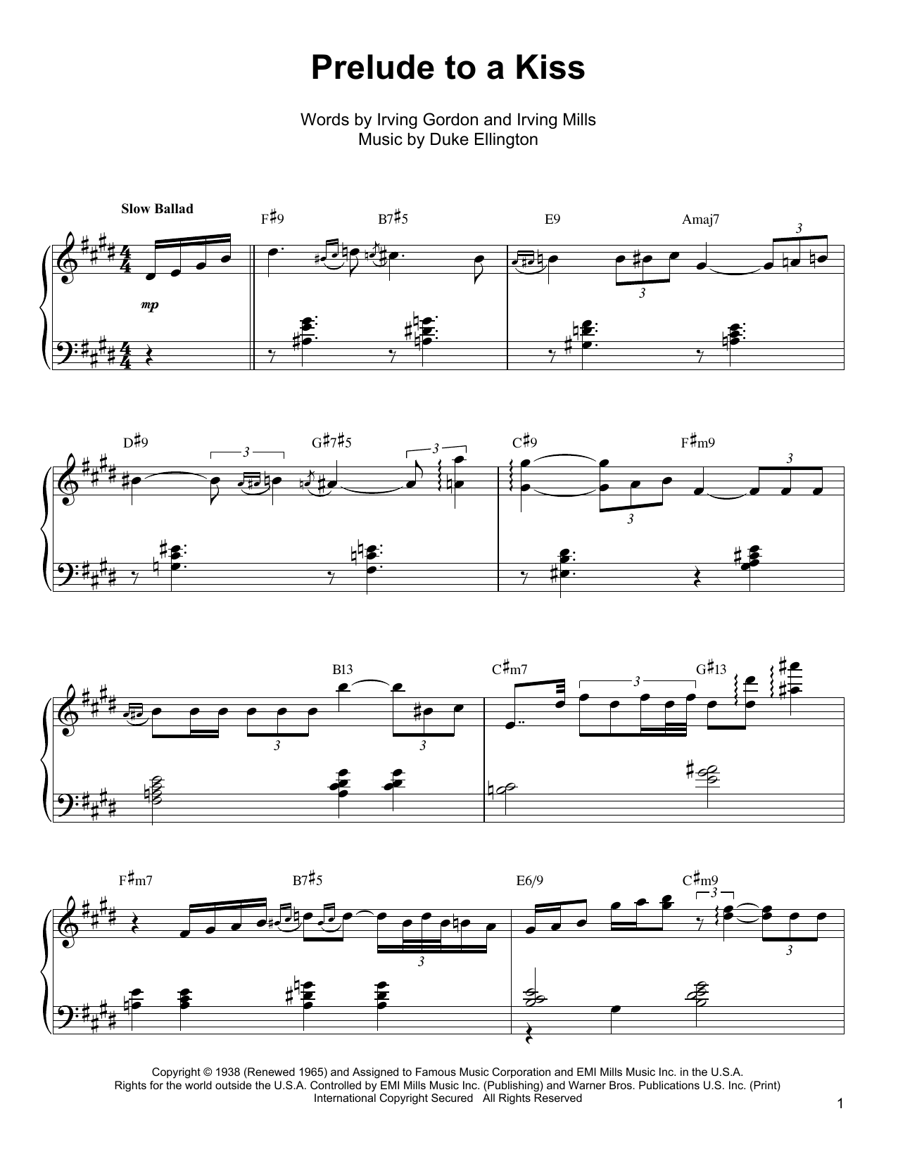 Oscar Peterson Prelude To A Kiss sheet music notes and chords. Download Printable PDF.