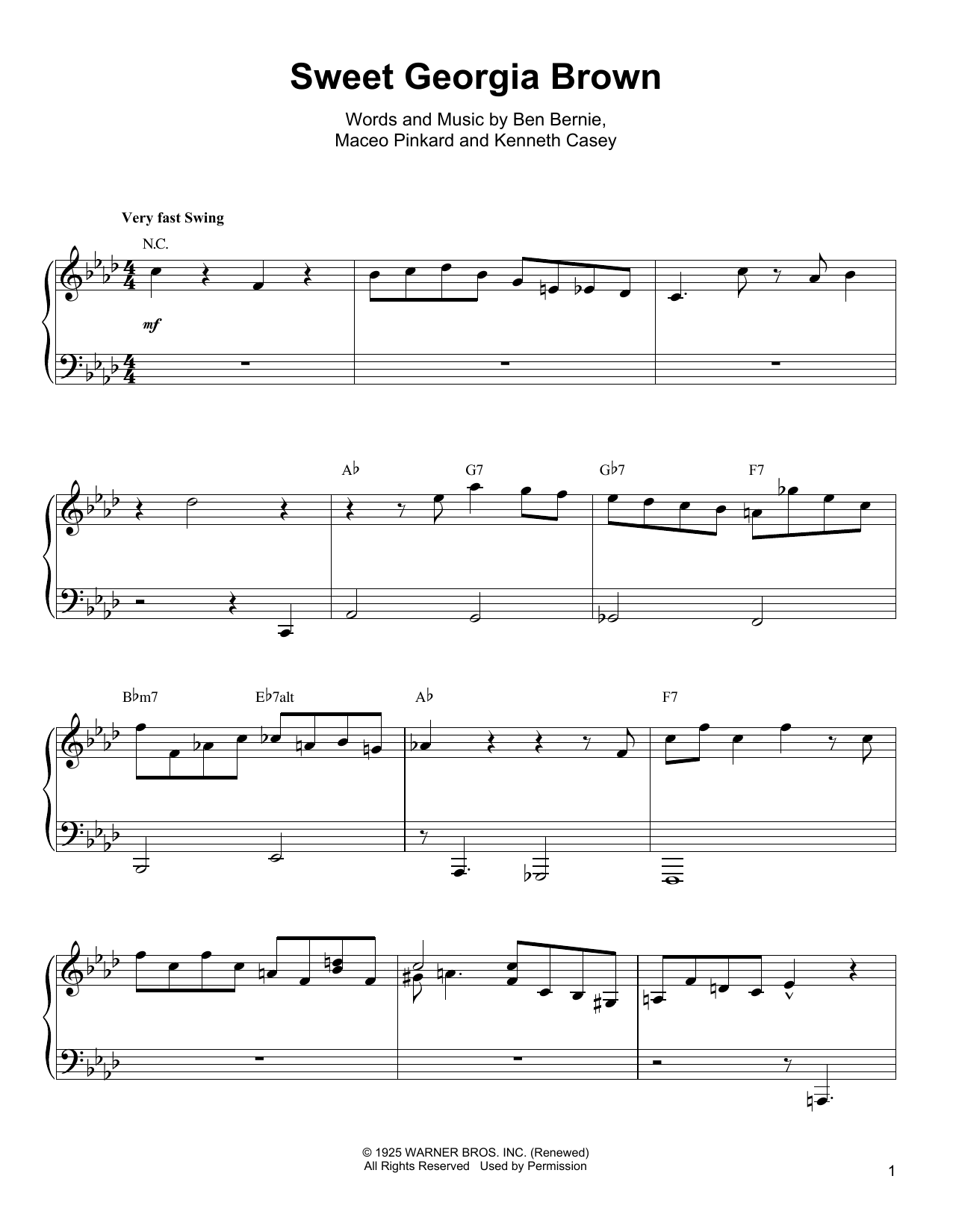 Oscar Peterson 'Sweet Georgia Brown' Sheet Music Notes, Chords | Download  Printable Piano Transcription - SKU: 199139