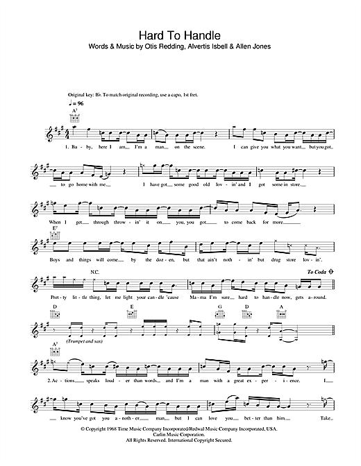 Otis Redding Hard To Handle sheet music notes and chords. Download Printable PDF.