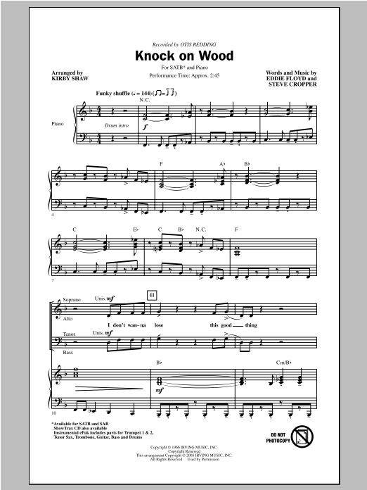 Otis Redding Knock On Wood (arr. Kirby Shaw) sheet music notes and chords. Download Printable PDF.