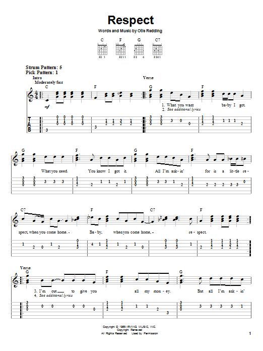 Otis Redding Respect sheet music notes and chords. Download Printable PDF.