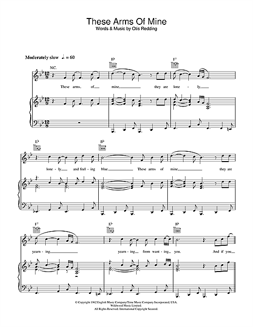 Otis Redding These Arms Of Mine sheet music notes and chords. Download Printable PDF.