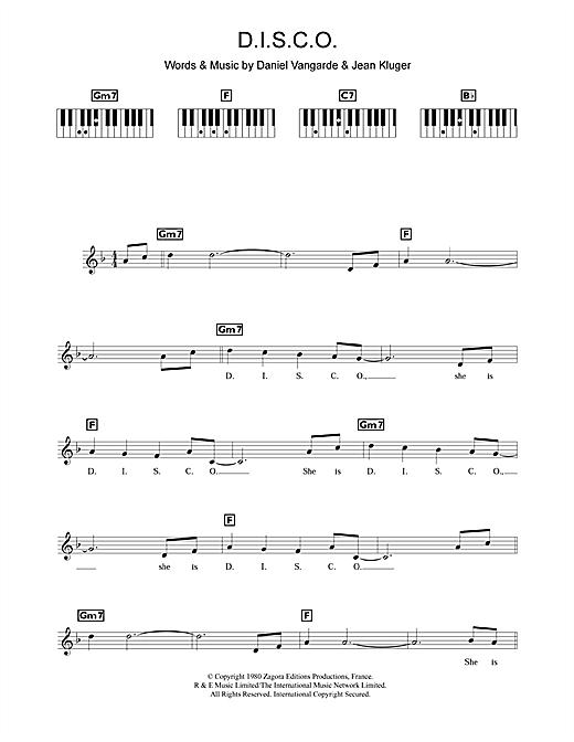 Ottawan D.I.S.C.O. sheet music notes and chords. Download Printable PDF.
