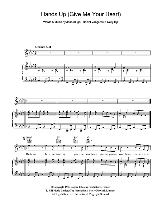 Ottawan 'Hands Up (Give Me Your Heart)' Sheet Music Notes, Chords |  Download Printable Piano, Vocal & Guitar (Right-Hand Melody) - SKU: 103578