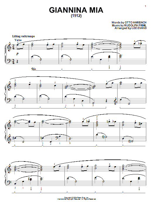 Otto Harbach Giannina Mia sheet music notes and chords. Download Printable PDF.