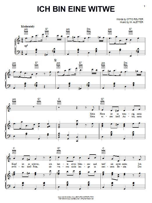 Otto Reuter Ich Bin Eine Witwe sheet music notes and chords. Download Printable PDF.