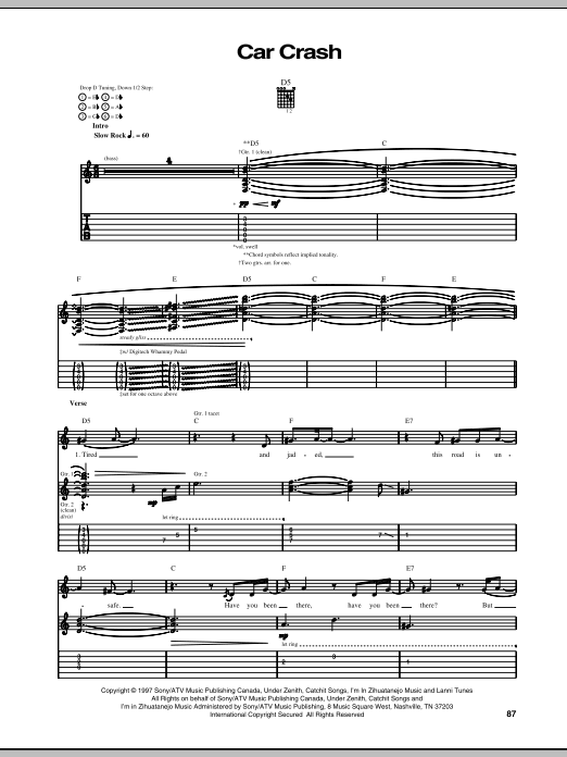 Our Lady Peace Car Crash sheet music notes and chords. Download Printable PDF.