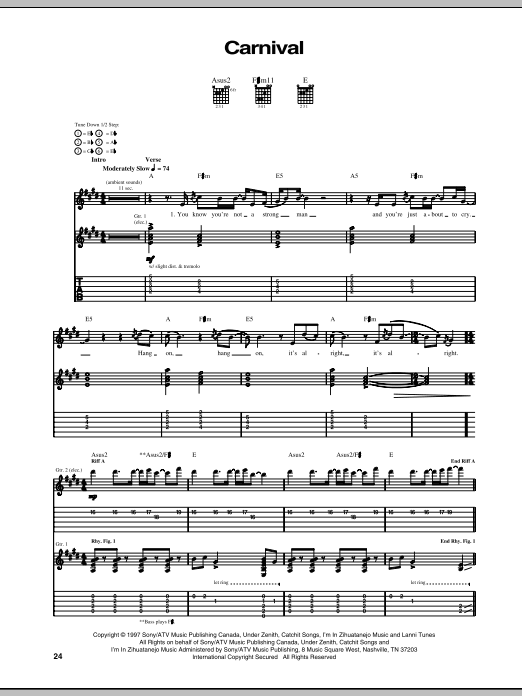 Our Lady Peace Carnival sheet music notes and chords. Download Printable PDF.