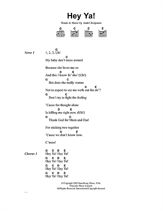 OutKast Hey Ya! sheet music notes and chords. Download Printable PDF.