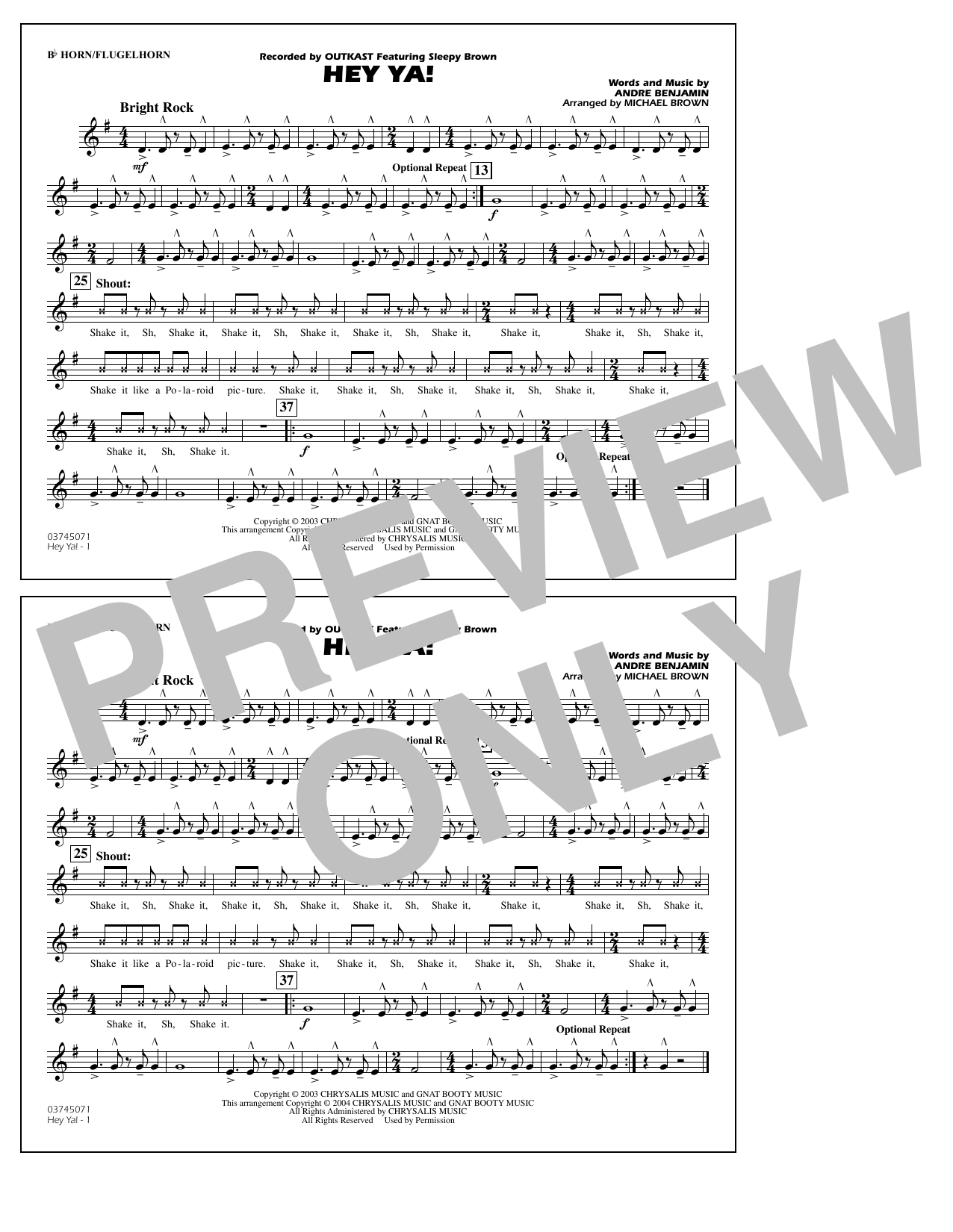 OutKast Hey Ya! (arr. Michael Brown) - Bb Horn/Flugelhorn sheet music notes and chords. Download Printable PDF.