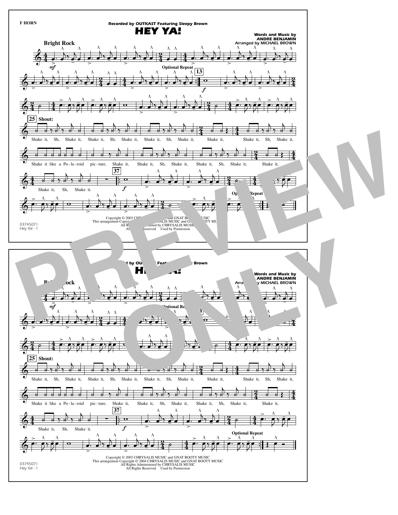 OutKast Hey Ya! (arr. Michael Brown) - F Horn sheet music notes and chords. Download Printable PDF.