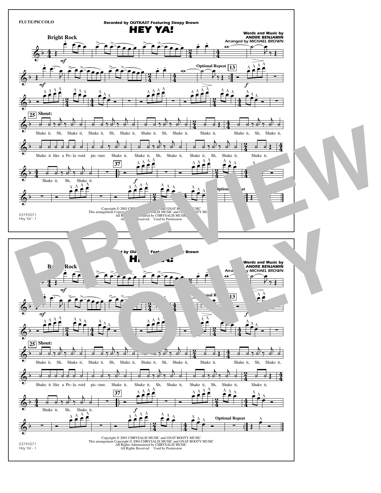 OutKast Hey Ya! (arr. Michael Brown) - Flute/Piccolo sheet music notes and chords. Download Printable PDF.
