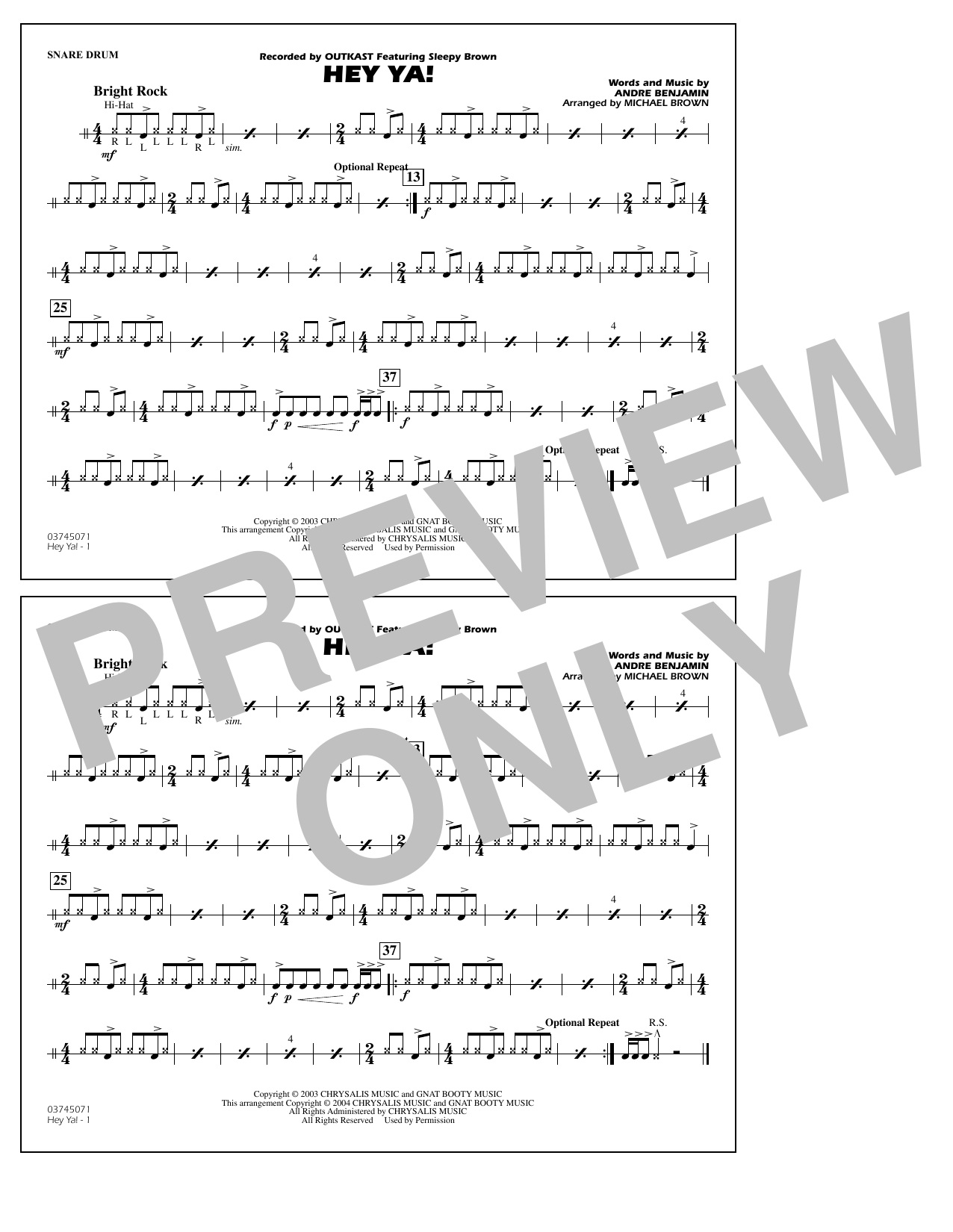 OutKast Hey Ya! (arr. Michael Brown) - Snare Drum sheet music notes and chords. Download Printable PDF.