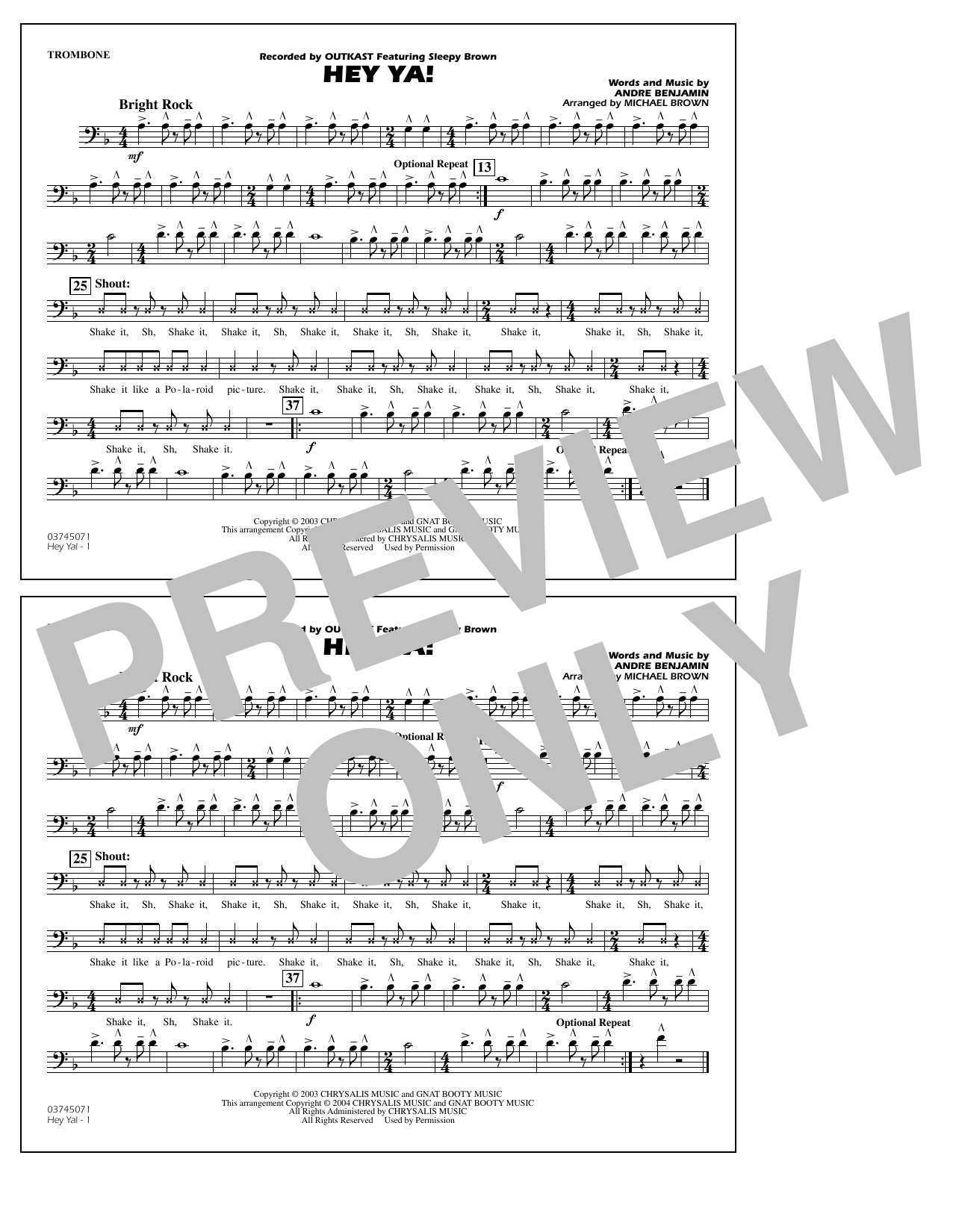 OutKast Hey Ya! (arr. Michael Brown) - Trombone sheet music notes and chords. Download Printable PDF.