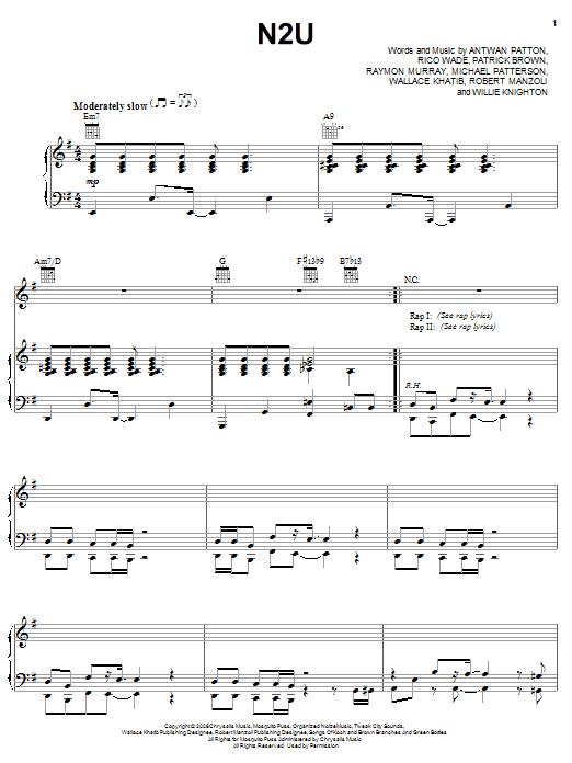 OutKast N2U sheet music notes and chords. Download Printable PDF.