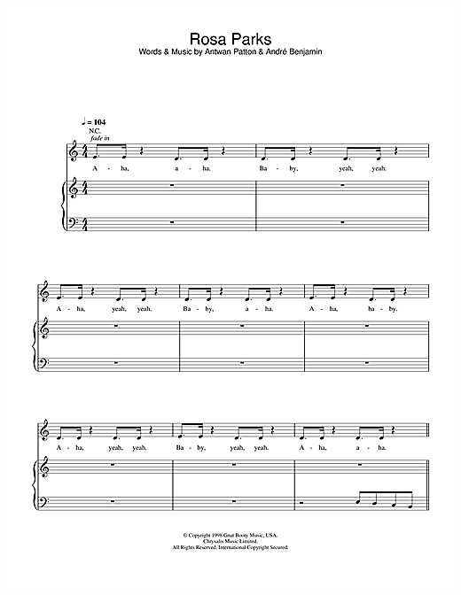 OutKast Rosa Parks sheet music notes and chords. Download Printable PDF.