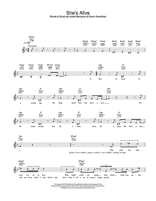 OutKast She's Alive sheet music notes and chords