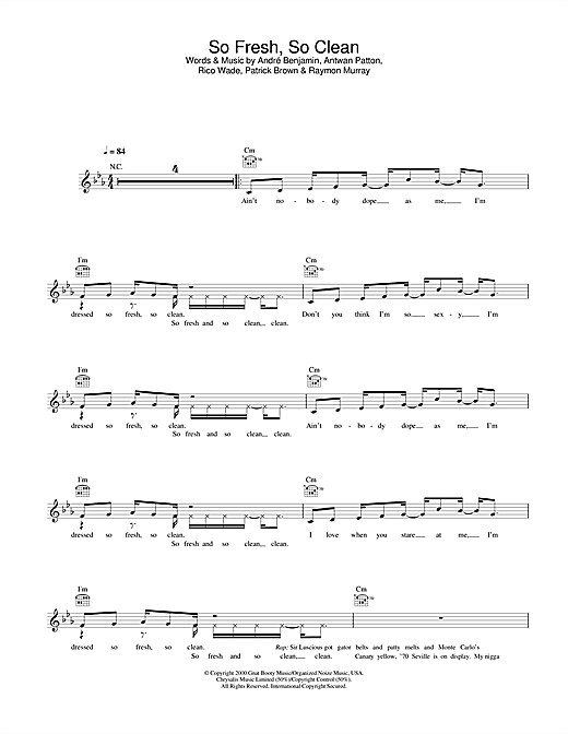 OutKast So Fresh, So Clean sheet music notes and chords. Download Printable PDF.