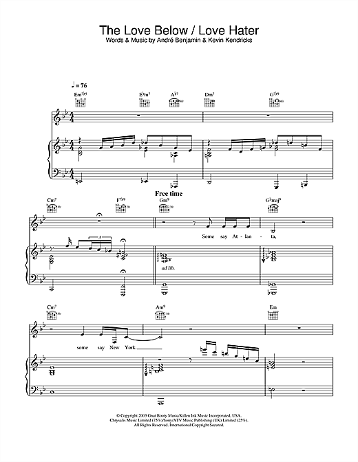 OutKast The Love Below / Love Hater sheet music notes and chords