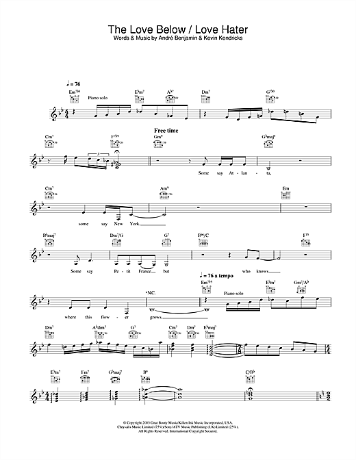 OutKast The Love Below / Love Hater sheet music notes and chords. Download Printable PDF.