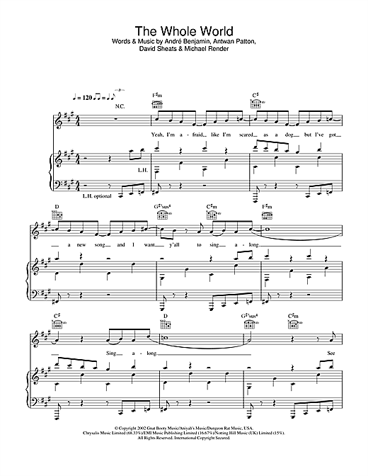OutKast The Whole World sheet music notes and chords