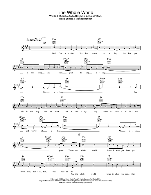 OutKast The Whole World sheet music notes and chords. Download Printable PDF.