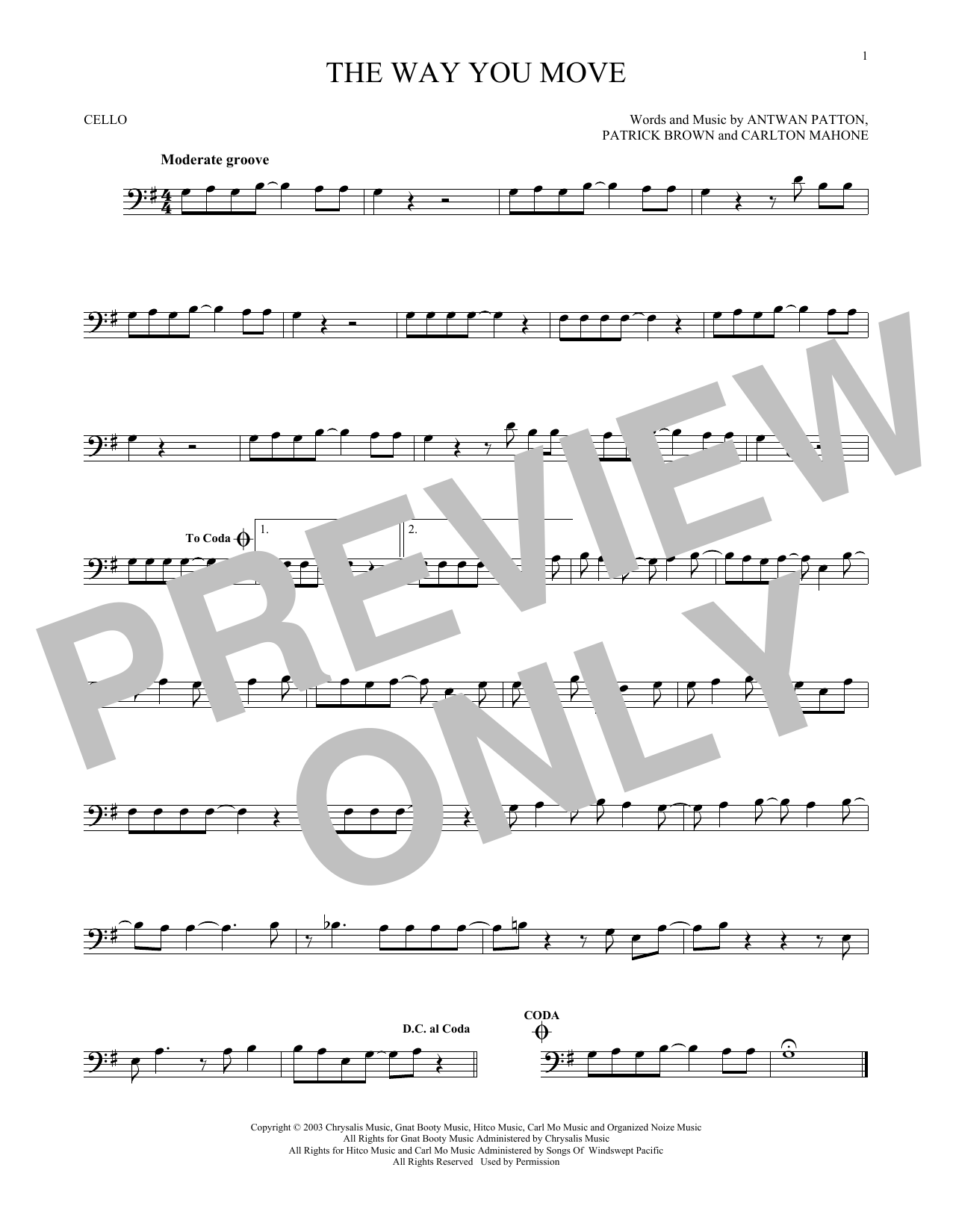 Outkast The Way You Move sheet music notes and chords. Download Printable PDF.