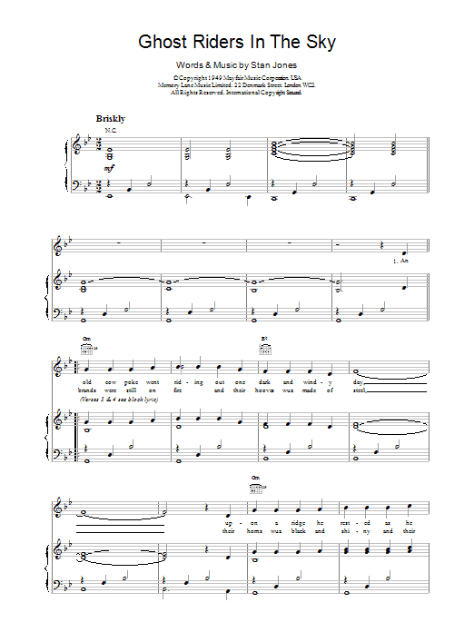 Outlaws Ghost Riders In The Sky sheet music notes and chords. Download Printable PDF.