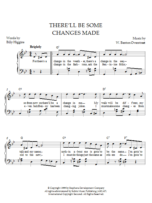 W. Benton Overstreet There'll Be Some Changes Made sheet music notes and chords. Download Printable PDF.