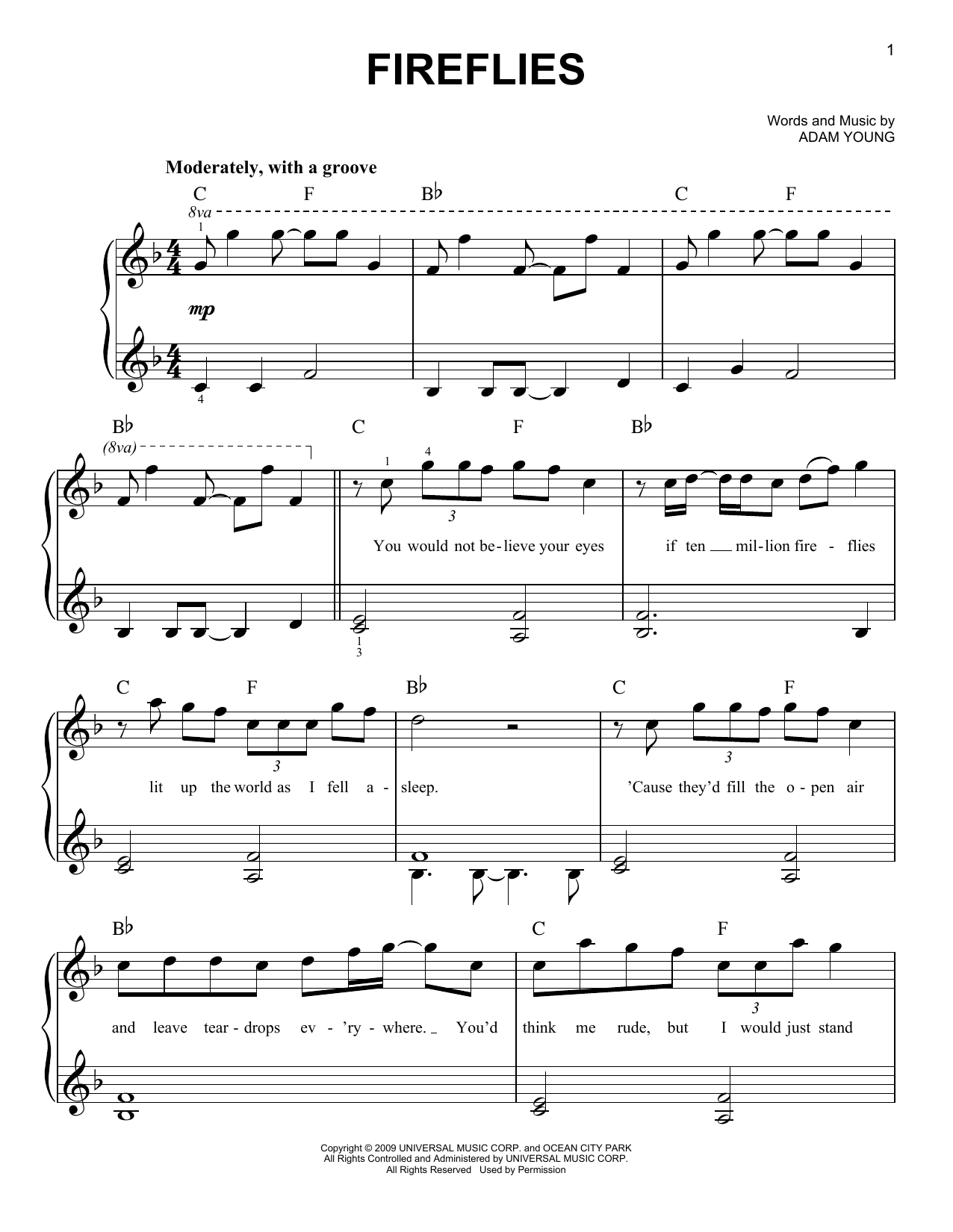 Owl City Fireflies sheet music notes and chords. Download Printable PDF.