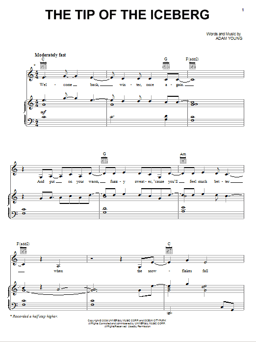 Owl City The Tip Of The Iceberg sheet music notes and chords