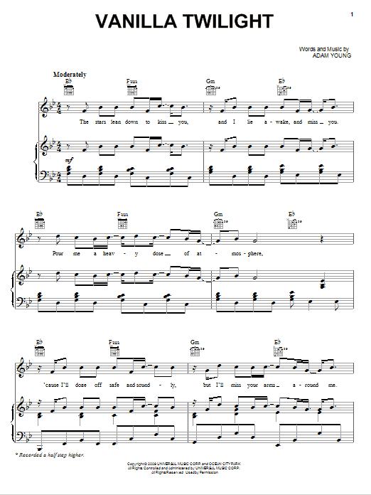 Owl City 'Vanilla Twilight' Sheet Music Notes, Chords   Download Printable  Easy Piano - SKU: 83088