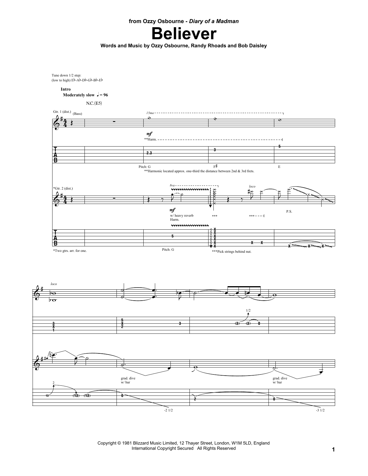 Ozzy Osbourne Believer sheet music notes and chords. Download Printable PDF.