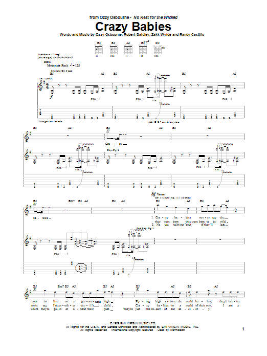 Ozzy Osbourne Crazy Babies sheet music notes and chords. Download Printable PDF.