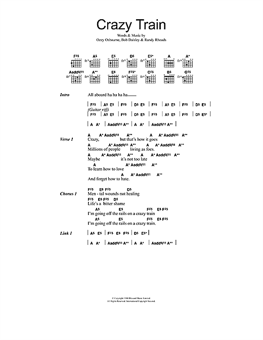 Ozzy Osbourne Crazy Train sheet music notes and chords. Download Printable PDF.