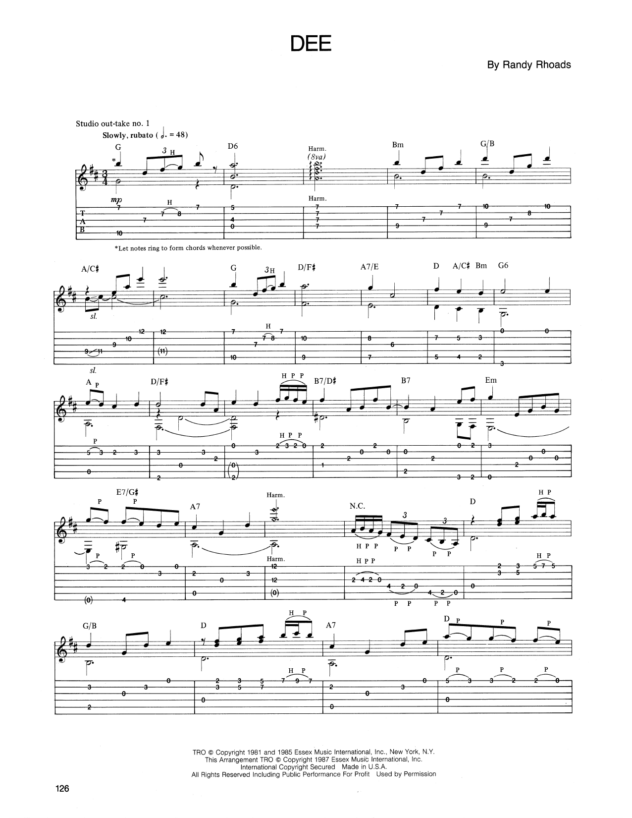 Ozzy Osbourne Dee sheet music notes and chords. Download Printable PDF.