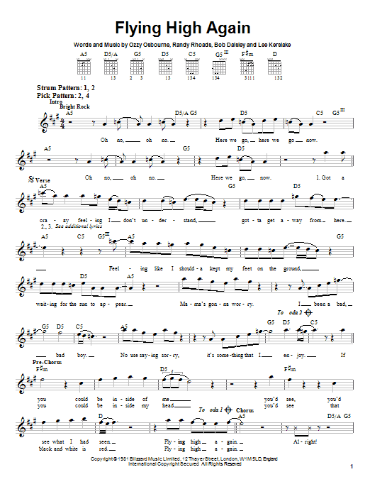 Ozzy Osbourne Flying High Again sheet music notes and chords. Download Printable PDF.