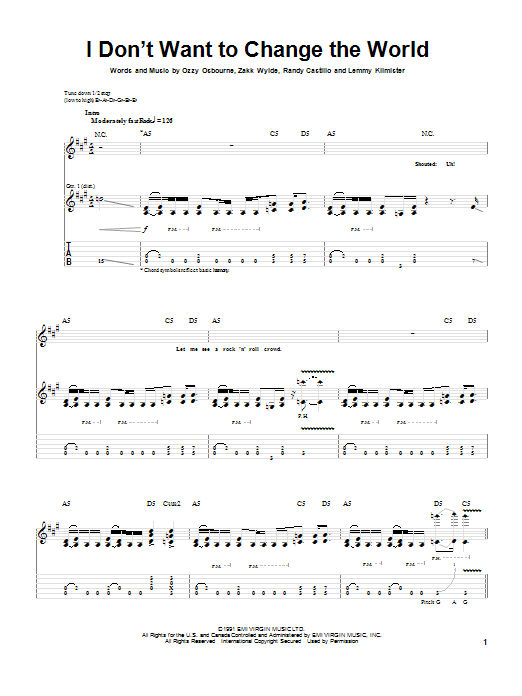 Ozzy Osbourne I Don't Want To Change The World sheet music notes and chords