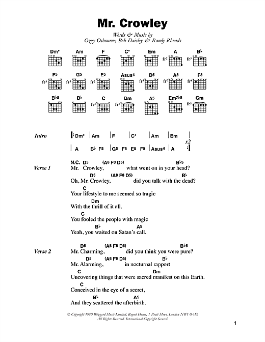 Ozzy Osbourne Mr. Crowley sheet music notes and chords