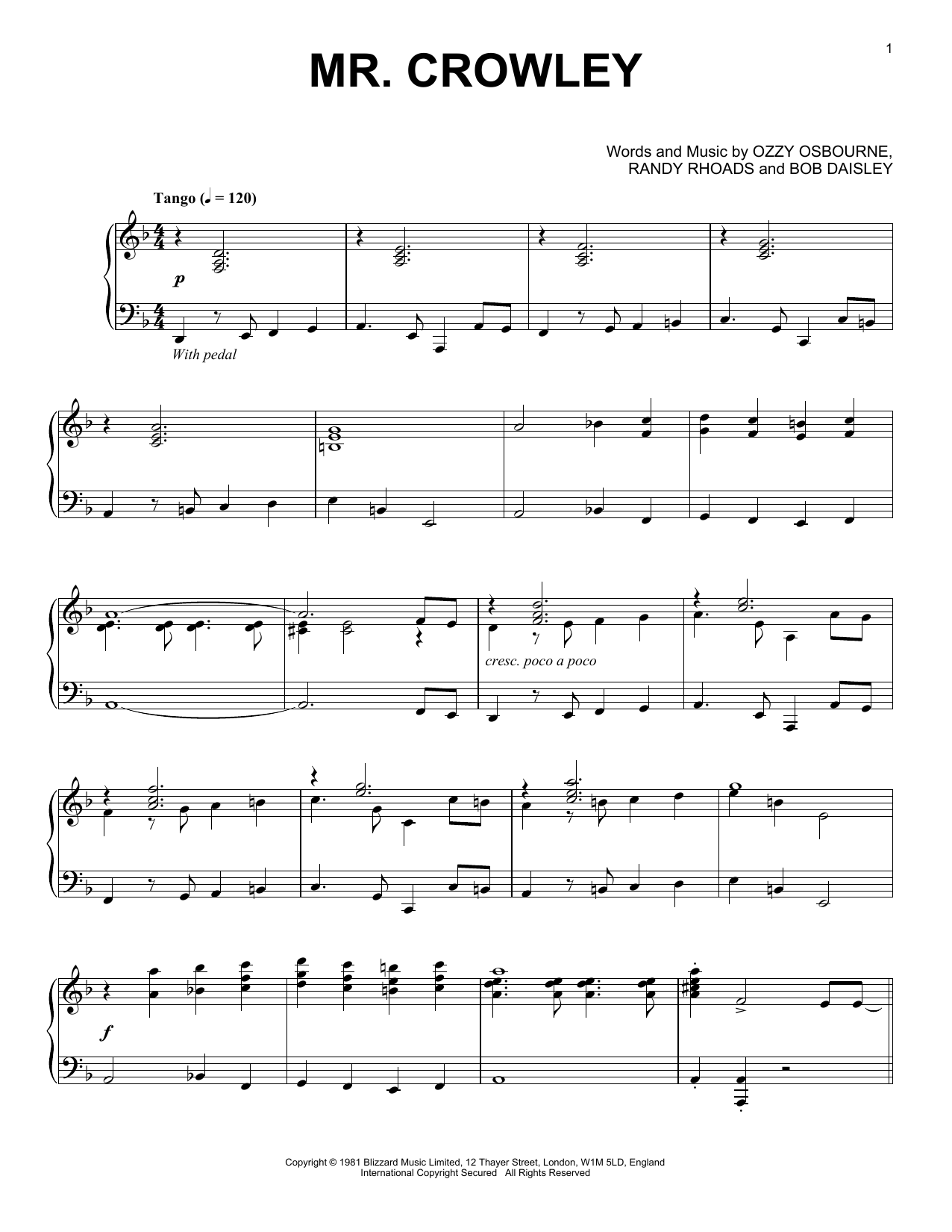 Ozzy Osbourne Mr. Crowley [Jazz version] sheet music notes and chords. Download Printable PDF.
