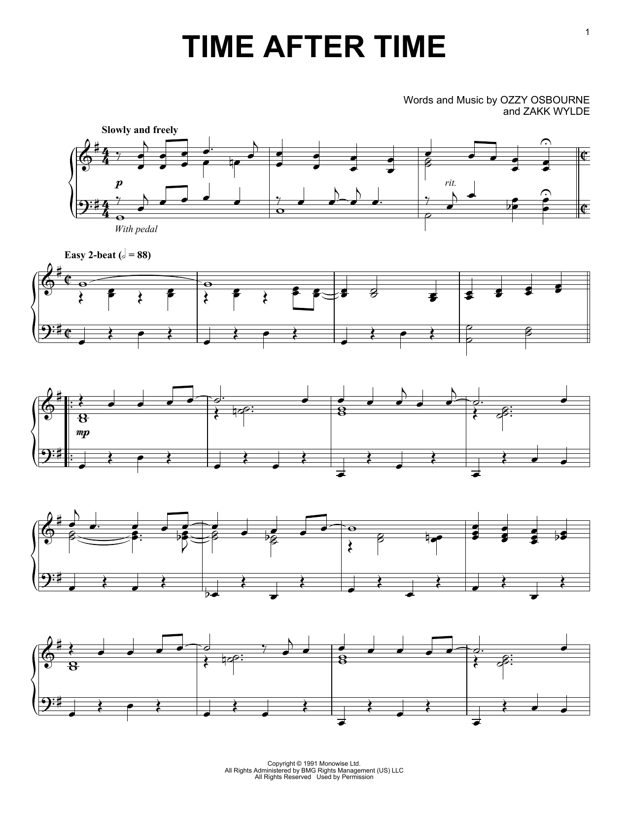 Ozzy Osbourne Time After Time [Jazz version] sheet music notes and chords. Download Printable PDF.