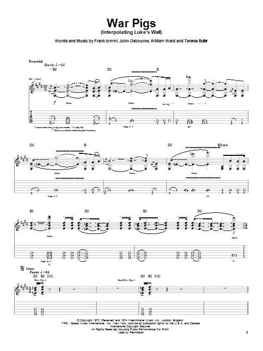 Ozzy Osbourne War Pigs (Interpolating Luke's Wall) sheet music notes and chords. Download Printable PDF.