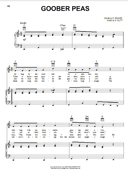 P. Nutt Goober Peas sheet music notes and chords