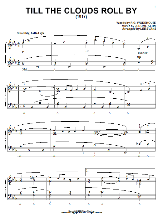 P.G. Wodehouse Till The Clouds Roll By sheet music notes and chords. Download Printable PDF.