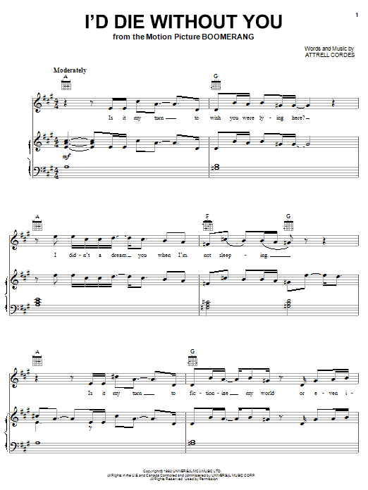 P.M. Dawn I'd Die Without You sheet music notes and chords. Download Printable PDF.