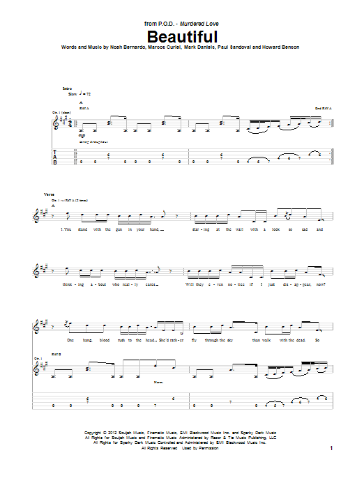 P.O.D. Beautiful sheet music notes and chords. Download Printable PDF.